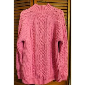 Lands End Pink Turtleneck Cable Knit Sweater